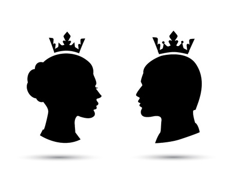 king and queen heads, king and queen face, black silhouette of king and queen. Royal family. Vector icons isolated on white