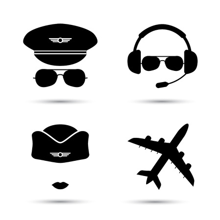 Stewardess, pilot, airplane silhouette. Black icons of aviator cap, stewardess hat and jet. Aviation profession. Flight attendant.