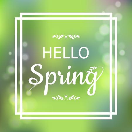 Ilustración de Hello Spring green card design with a textured abstract background and text in square frame, vector illustration.  Lettering design element - Imagen libre de derechos