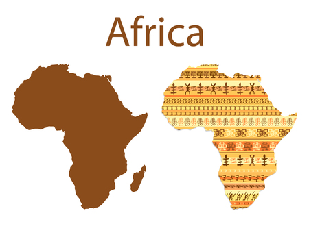 Map of Africa. Colorful ethnic african map pattern design with strips. Vector illustration