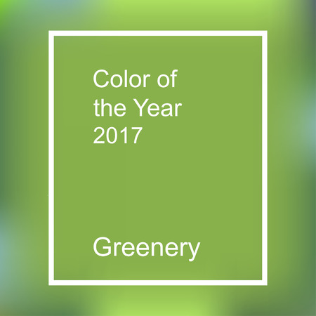 Illustration pour Color of the year 2017. Greenery trendy background with frame - image libre de droit