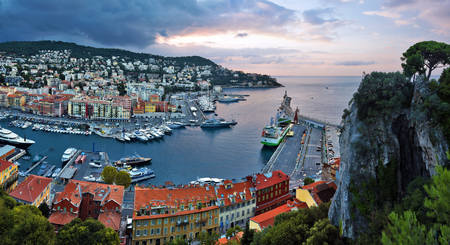 Panorama of Nice Port Limpia via Mont Boron and Cap de Nice from the Castle Hill before sunrise, Provence-Alpes-Cote d Azur, France