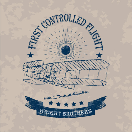 Illustration for The first flight of Wright brothers airplane label in retro style on a light vintage background - Royalty Free Image