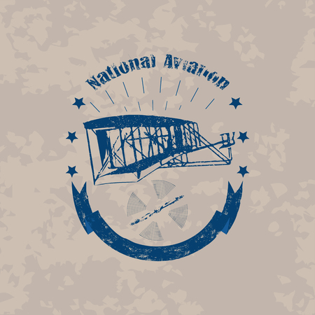 Illustration for Aviation badge with first airplane in retro style on light vintage background - Royalty Free Image