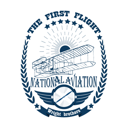 Illustration for Icon of aviation label in retro style isolated on white background - Royalty Free Image