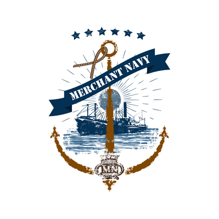 Illustration pour Merchant Navy anchor badge in retro style isolated on white background - image libre de droit