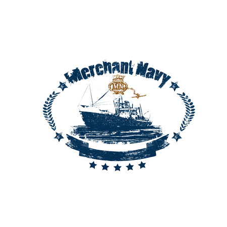 Illustration pour Merchant Navy badge in retro style isolated on white background - image libre de droit