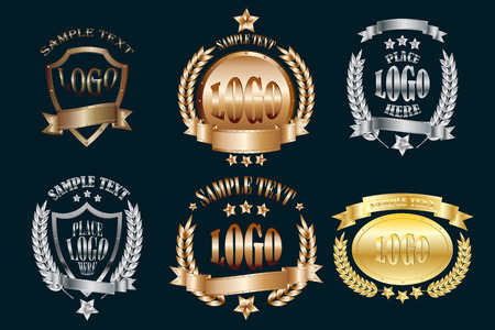 Illustration for Set of metal emblems realistic icons isolated on black background - Royalty Free Image
