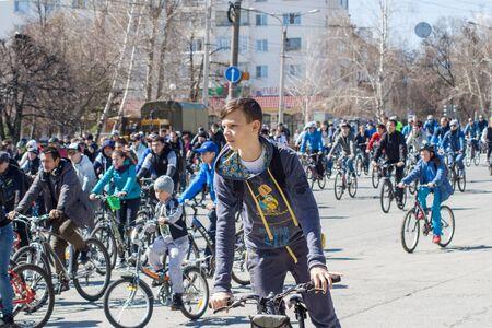 Mass bike ride in the city of Cheboksary, Chuvash Republic, Russia. April 24, 2016