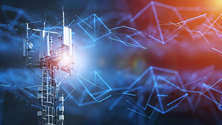 Photo for 4G and 5G cellular telecommunication tower. Telecommunication equipment for a 5G radio network with radio modules and smart antennas installed on a metal structure against an abstract background in the form of a network. - Royalty Free Image