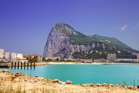 Gibraltar with view of beach and port