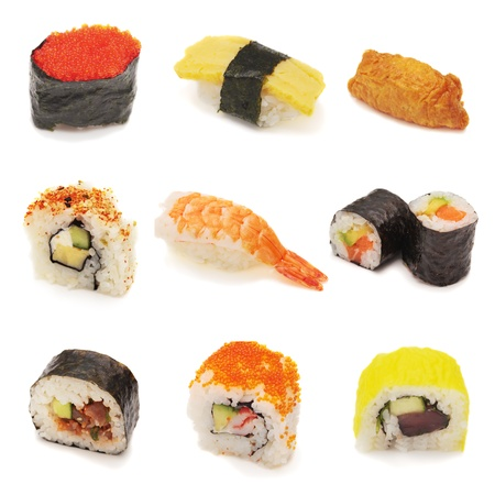 Sushi collage. Variety of sushi in collage. Nigiri, tobiko, tamago, uramaki, futomaki, maki, inari. Over white, isolated.