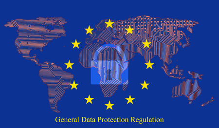 Illustration for General data protection regulation (GDPR) with padlock against the background. Printed circuit board of the Earth map. - Royalty Free Image