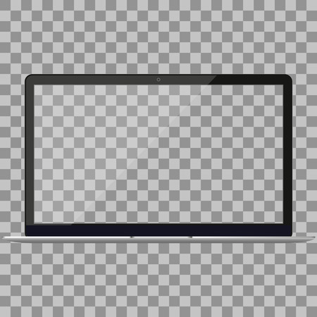 Ilustración de Laptop in Macbook Air style mockup with blank screen - front view.Open laptop with blank screen isolated on white background.Silver Laptop front view.Notebook.Laptop - vector illustration. - Imagen libre de derechos