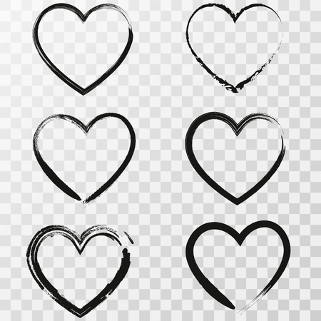 Illustration pour Set of six hand drawn heart. Handdrawn rough marker hearts isolated on transparent background. Vector illustration for your graphic design - image libre de droit