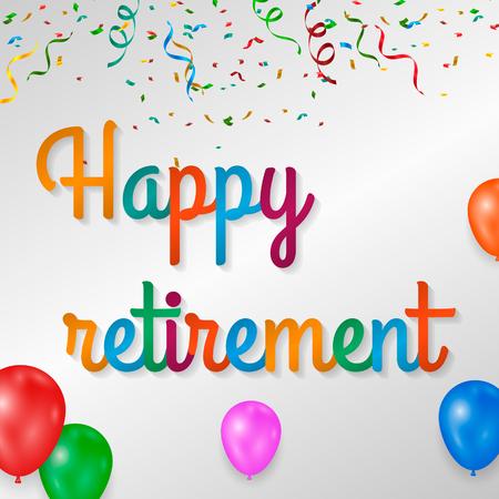 Illustration pour Happy retirement colorful with fireworks on white background. - image libre de droit