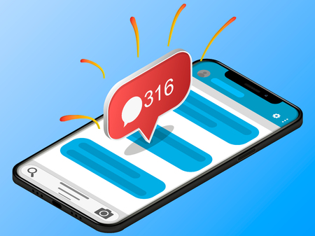 Isometric concept with smartphone and incoming messages. New mail, sms. e-mail notification. Vector illustration. Minimalistic smartphone mockup isolated on background