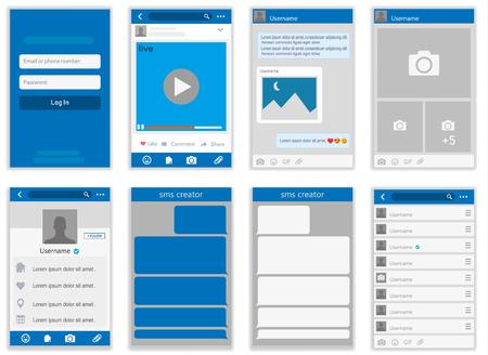 Illustration pour Social network Mock up, post frames and other pages vector illustration. - image libre de droit