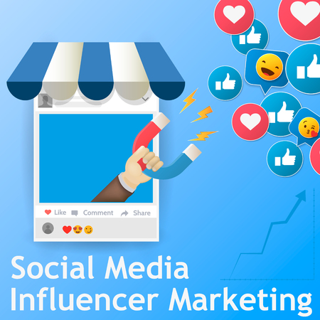 Social media concept vector illustration with magnet engaging followers and likes. Influence marketing or viral advertising campaign.