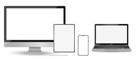 Illustration pour Set of modern devices mockups with blank frameless screens: monitor, laptop, tablet computer phone. Vector illustration - image libre de droit