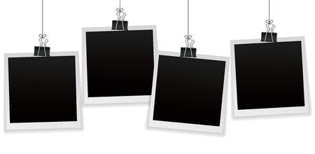 Ilustración de Set of 4 vintage photo frames hanging on a clip. Vintage style. Vector illustration. Photorealistic Vector EPS10 mockups. Retro photo frame templates hanging on wall for your photos - Imagen libre de derechos