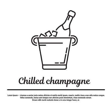graphic set. Icons in flat, contour, thin and linear design. Bucket with ice and chilled champagne. Simple icon on white background.Concept illustration for Web site, app. Sign, symbol, emblem.