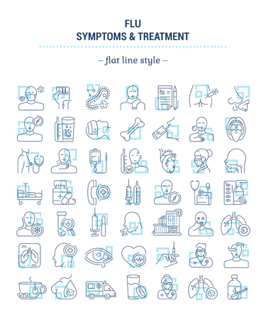 Illustration for Vector graphic set. Icons in flat, contour, outline thin and linear design. Flu. Symptom, treatment, prevention. Simple isolated icons. Concept illustration for Web site. Sign, symbol, element. - Royalty Free Image