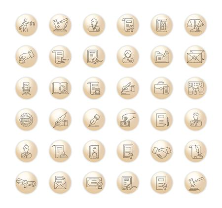 Vector graphic set.Icons in flat, contour,thin, minimal and linear design.Notary office. Paperwork, document notarized.Simple isolated icons.Concept illustration for Web site app.