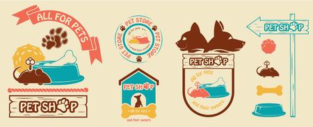 Vector set of logos and emblems for a pet store. Vector image, logo cats and dogs, with elements of their supply, bone, bowl, clockwork mouse, a rubber ball for the game.