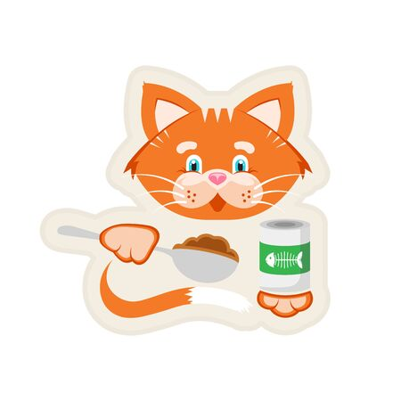 Vector illustration. Sticker. Orange cat holds in its paws a jar of food and a spoon.のイラスト素材