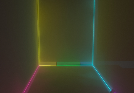 Room with coloured backlight effect