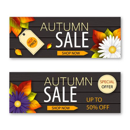 Illustration for Set of autumn sale banners with realistic flowers and fall leaves on dark wooden background. Vector illustration - Royalty Free Image