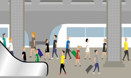 Illustration pour People waiting train in subway - image libre de droit