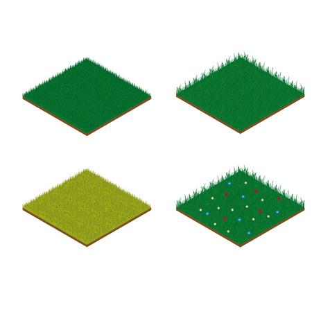 Set of isometric grass tiles