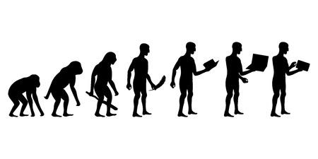 Photo pour Evolution of Man and Technology silhouettes - image libre de droit