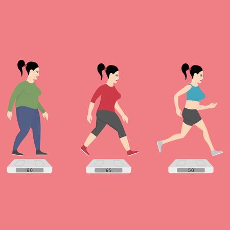 Fat women running to slim shape