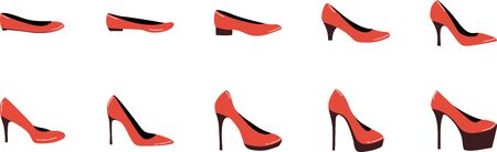 Different heel heights of woman shoes. Set of 10 heels from small to big.