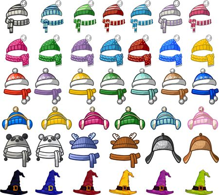 Illustration for Big set of christmas and halloween hats. Different colors and styles. Winter hats. - Royalty Free Image