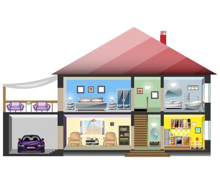 Illustration pour Detailed modern house interior. - image libre de droit