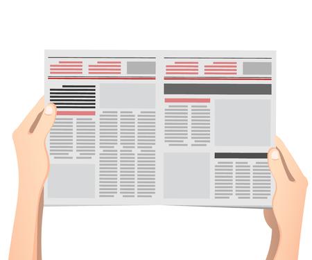 Illustration pour Business man hands holding newspaper vector illustration in flat design. - image libre de droit