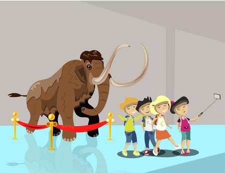 Illustration pour Kids in museum. Children make selfie - image libre de droit