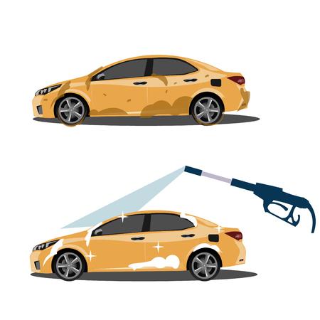 Illustration pour Cool on dirty and clean car. Vector illustration - image libre de droit