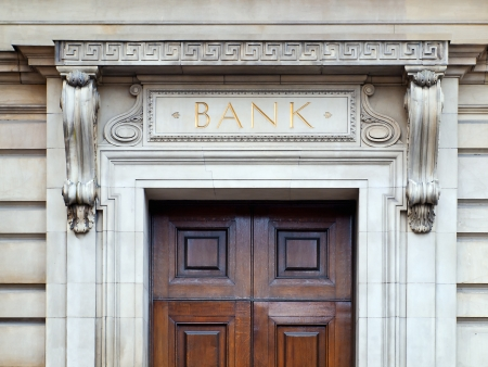 Bank building entrance