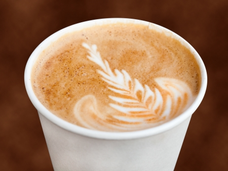 Cappuccino in a takeaway cup