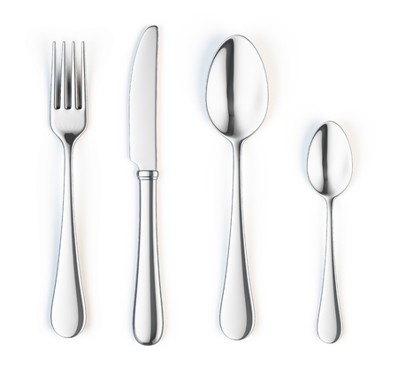 Photo for Fork, knife and spoon isolated on white background - Royalty Free Image