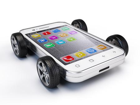 Photo pour Smartphone on wheels - image libre de droit