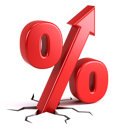 Photo pour Percentage sign with UP arrow - image libre de droit