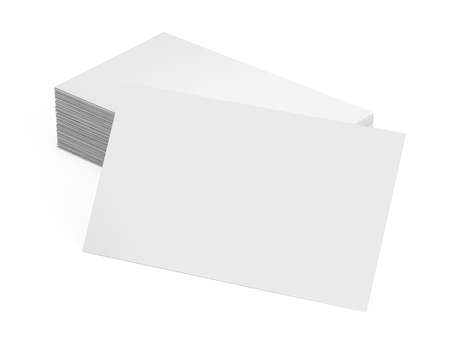 Photo pour Stack of blank business card isolated on white - image libre de droit