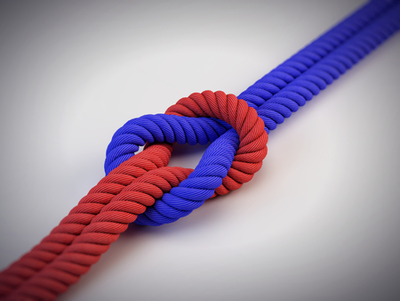 Photo for two different ropes with knot - Royalty Free Image