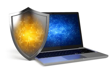 Photo pour Laptop with Protection Shield - Computer security, antivirus, firewall concept - image libre de droit